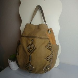 Lucky Brand Studded Leather Khaki Hobo